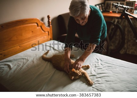 Elderly woman petting her cat on the bed at home - stock photo