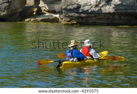 Elders Kayaking in Door County - stock photo