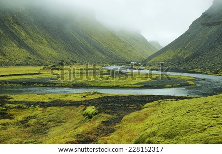 Eldgja canyon covered with moss in Iceland highlands - stock photo