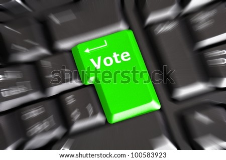 election concept with vote key showing poll polling or voting - stock photo