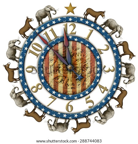 Election countdown clock elephants and donkeys representing the Democratic and Republican parties. Clock hands are isolated separately to be placed and rotated around the clock. - stock photo