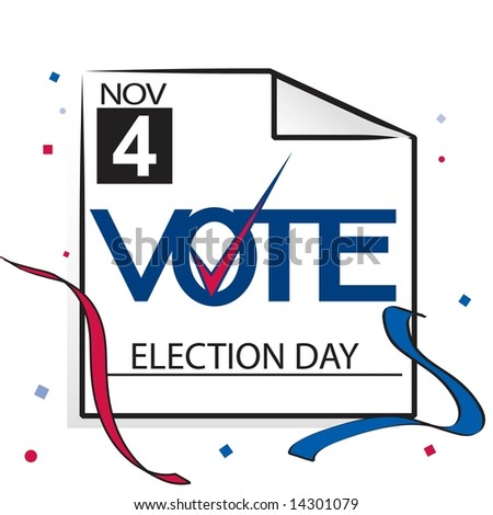 Election day calendar page with VOTE graphic in JPEG/TIFF format. (Image ID for vector version: 14214034) - stock photo