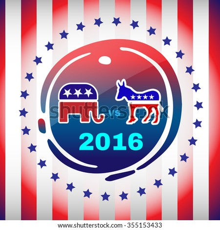 Election Day 2016 Campaign Ad Flyer. Social Promotion Banner. Elephant versus Donkey. American Flag's Symbolic Elements - Red Stripes and Blue Stars. Digital raster illustration. - stock photo