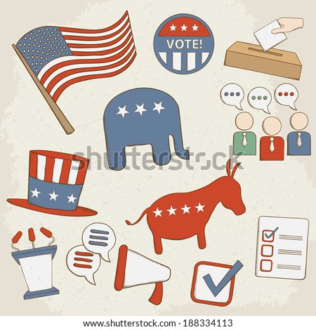 Election hand drawn icons. Raster version - stock photo