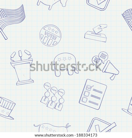 Election hand drawn seamless pattern. Raster version - stock photo