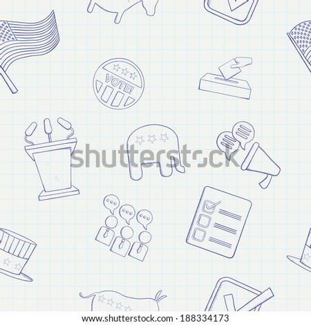 Election hand drawn seamless pattern. Raster version - stock photo