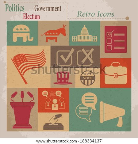 Election retro flat icons. Raster version - stock photo