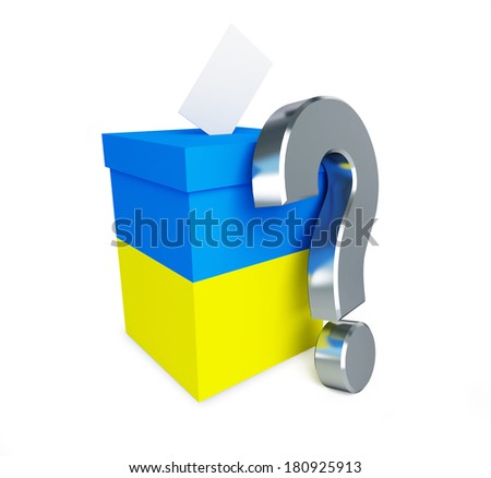 Elections in Ukraine question mark on a white background - stock photo
