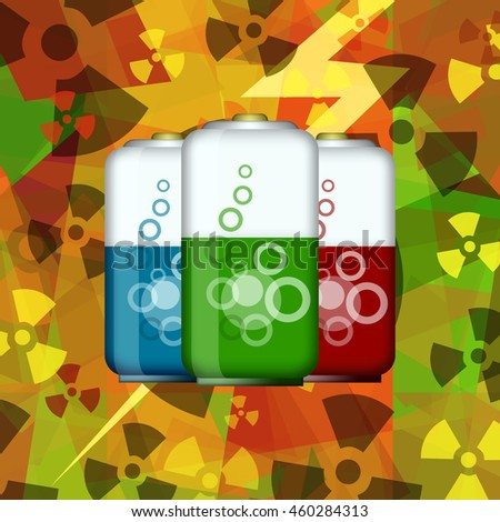 Electric batteries on atomic energy power background - stock photo