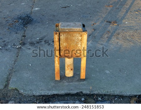 Electric box after building demolition in Poland - stock photo