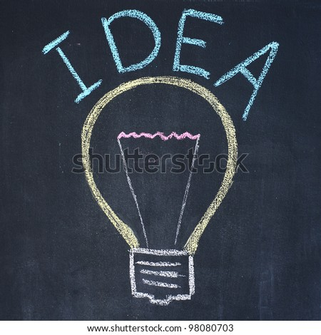 "Electric bulb and word ""Idea"", chalk drawing - stock photo"