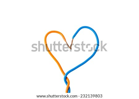 Electric cable ends, isolated on white. Colorful bundle of electric or electronic cables,Heart shape,Valentines day background. - stock photo