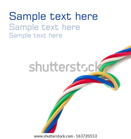 electric cable on a white background - stock photo