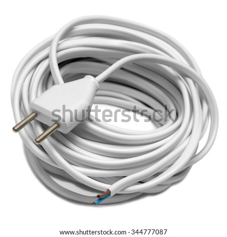 Electric cable with socket isolated on white background - stock photo
