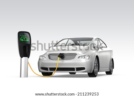 Electric car at charging station. Zero emission concept - stock photo