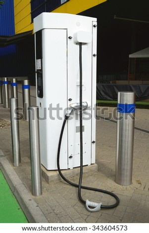 Electric car battery charger - stock photo