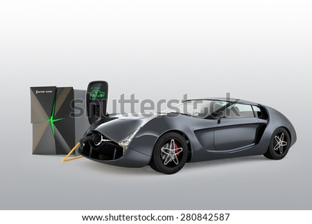 Electric car charging in EV charging station. The charging station power supply by battery storage system. - stock photo