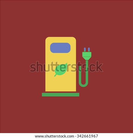 Electric car charging station or Bio fuel petrol. Colorful retro flat icon - stock photo
