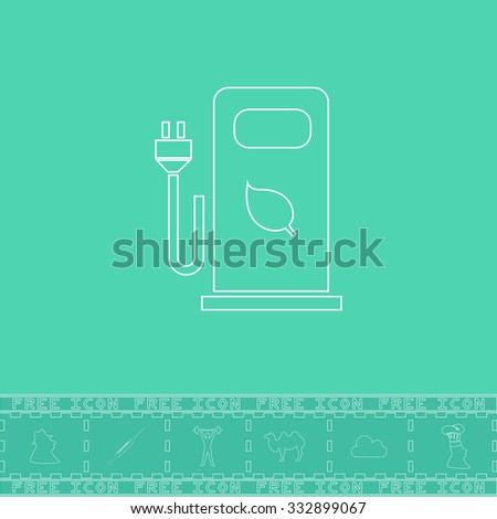 Electric car charging station or Bio fuel petrol. White outline flat icon and bonus symbol. Simple illustration pictogram on green background - stock photo