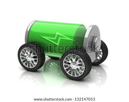 electric car 3d concept - stock photo