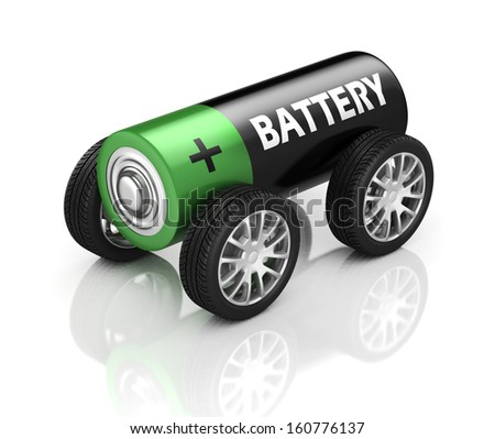 electric car 3d concept - battery on wheels - stock photo
