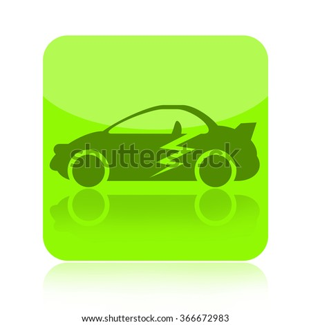 Electric car icon - stock photo