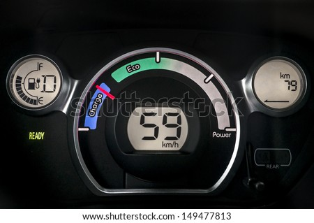 Electric car instrument cluster - stock photo