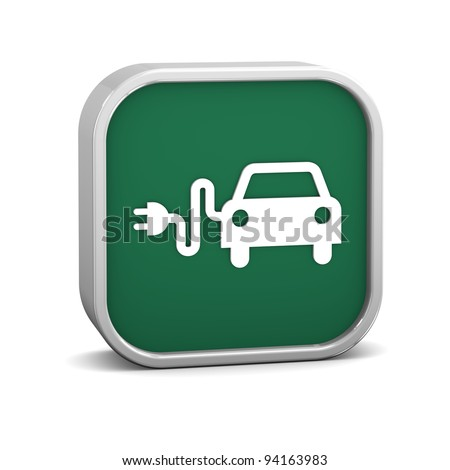Electric Car Sign on a white background. Part of a series. - stock photo