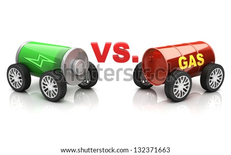 electric car vs. gas car - stock photo