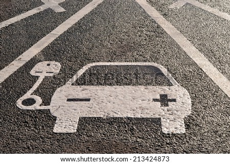 Electric charging parking space - stock photo