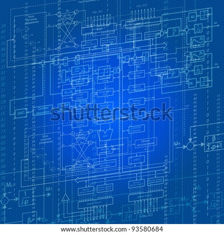 electric circuits and block diagrams on a blue background - stock photo