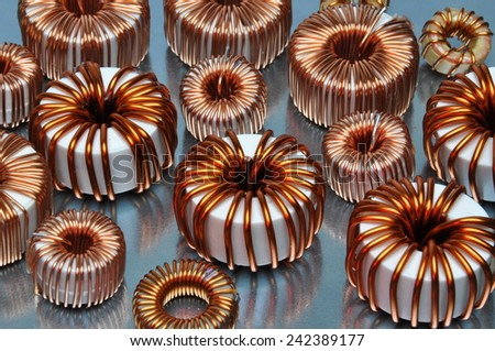 Electric coils on metal background  - stock photo