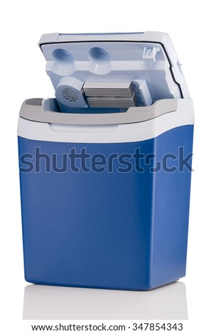 Electric cooler with open top isolated on white background - stock photo