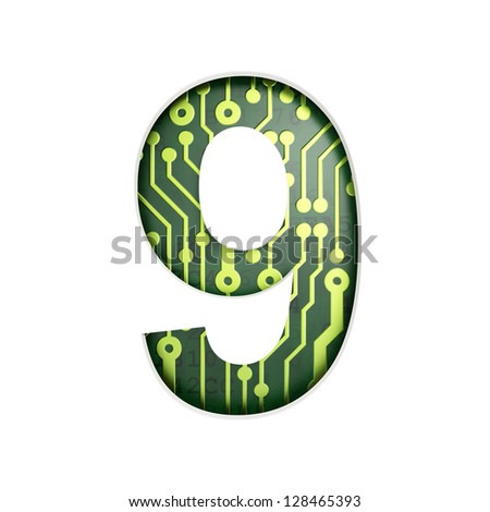 Electric curcuit board letters and numbers collection: 9 isolated on white background, 3D render - stock photo
