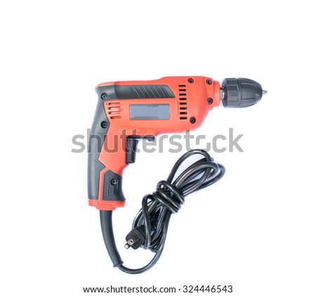 Electric drill  on white background - stock photo