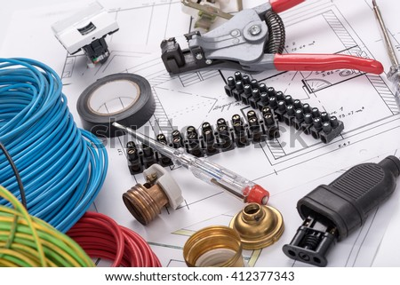 Electric equipment on a plan - stock photo