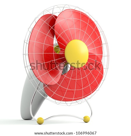 Electric fan. 3D model isolated on white background - stock photo