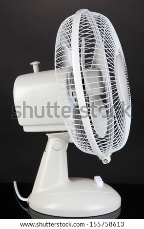 Electric fan on grey background - stock photo