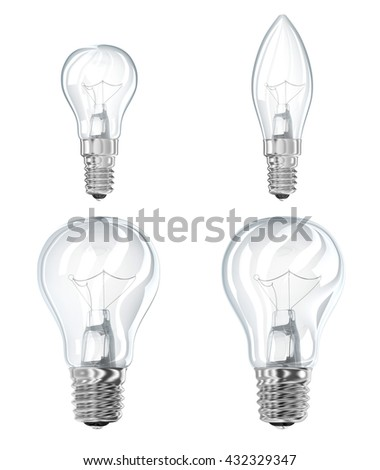 Electric filament lamp socket E14 and E27. 3d illustration. Isolated on white - stock photo