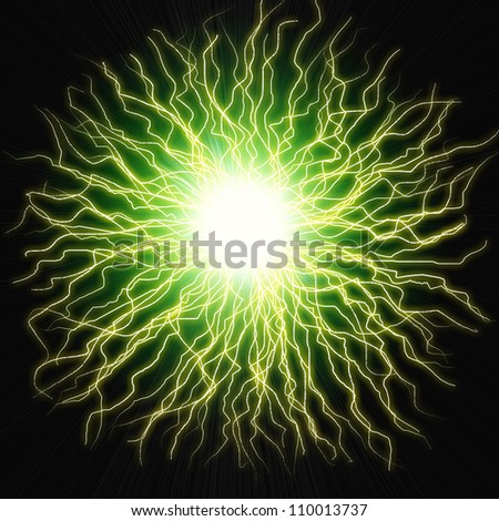 Electric flash of lightning on a colored  background - stock photo