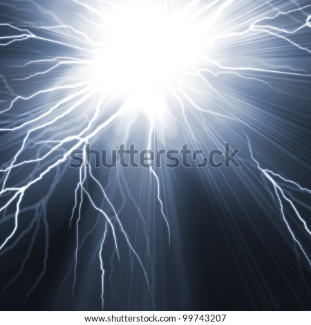 Electric flash of lightning on a dark blue background - stock photo
