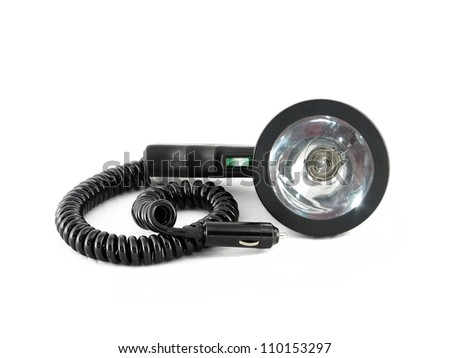 Electric flashlight for hunting isolated on white background - stock photo