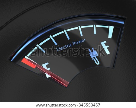 Electric fuel gauge with the needle indicating an empty battery charge. Eco fuel concept - stock photo