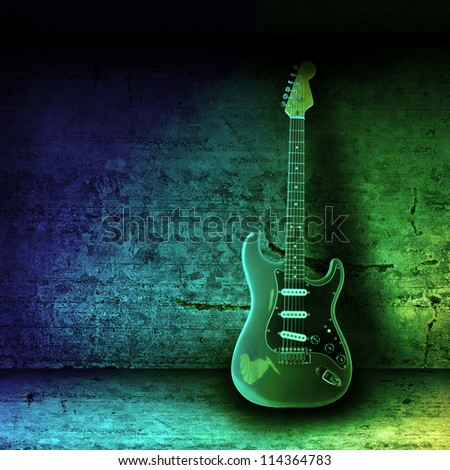 Electric guitar and the wall - stock photo