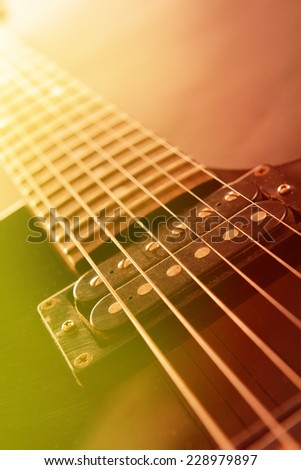 Electric guitar, close up - stock photo