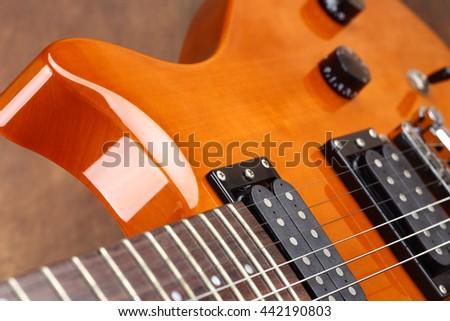 electric guitar close up, shallow dof - stock photo