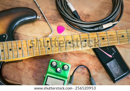 Electric guitar equipment and accessories - stock photo