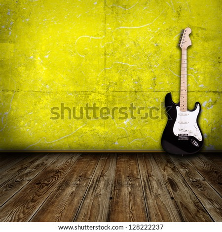 electric guitar in the room - stock photo