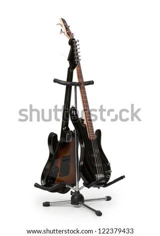 electric guitar insulated on white background - stock photo