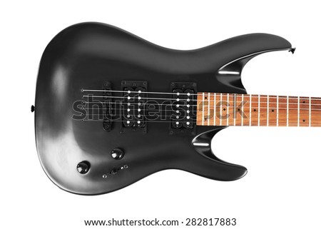 Electric guitar isolated on white - stock photo